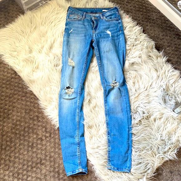 Zara distressed slim fit jeans